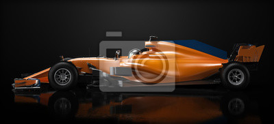 Plakat Motor sports competitive team racing. Sleek generic orange race car and driver with side view perspective, studio lighting and reflective background. 3d rendering