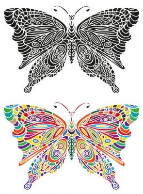 Plakat motyl ornament kolor czarny