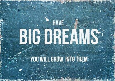 Plakat Motywacyjny cytat na rustykalnym tle MIEĆ wielkie marzenia