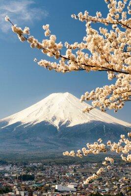 Plakat Mount Fuji z gałęzi wiśniowego drzewa, Japonia