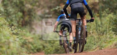 Plakat Mountain bikers riding on bike singletrack trail, mountain bike race