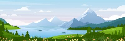 Plakat Mountain lake landscape vector illustration. Cartoon flat panorama of spring summer beautiful nature, green grasslands meadow with flowers, forest, scenic blue lake and mountains on horizon background
