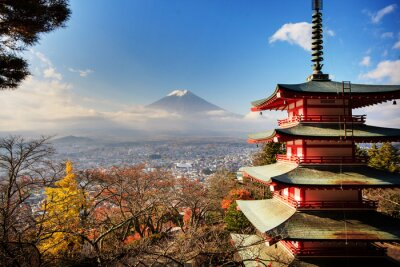 Plakat Mt. Fuji z spadek kolory w Japonii.