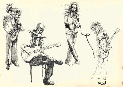 Plakat Muzycy - kolekcja rysunków ręcznych do wektora