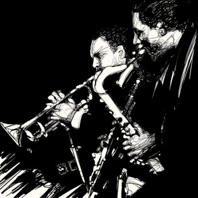 Plakat muzyk jazzowy mosiądz