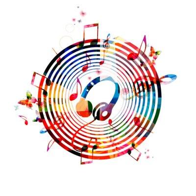 Plakat Muzyka notatki z słuchawkami