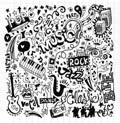Plakat Muzyka w tle, rysunek odręczny Doodle