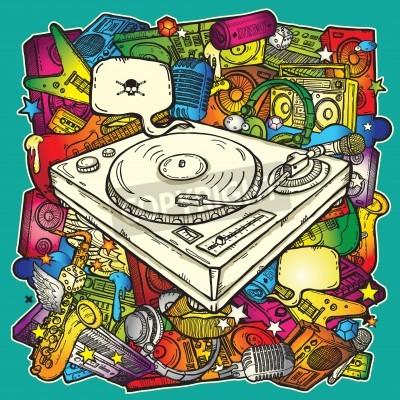 Plakat Muzyka w tle w kolorze