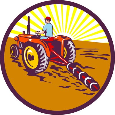 Plakat Na Farmer Traktor kołowy Retro