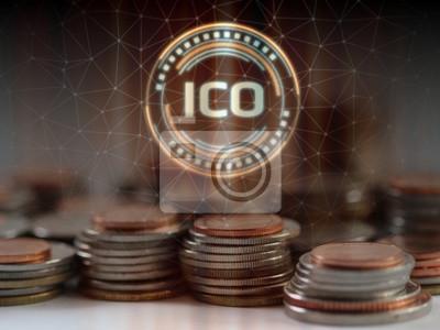 Na stosie zwykłych monet unosi się hologram Initial Coin Offering (ICO). Ilustracja rozwiązania nowej koncepcji systemu gospodarczego. Do promowania nowych żetonów monet i kryptowaluty
