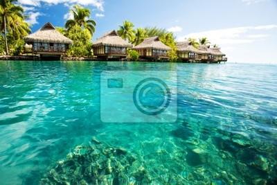 Plakat Nad wody bungalowów z kroków w zielonej lagunie