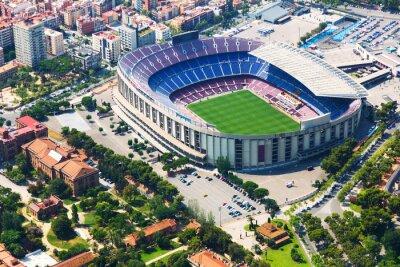 Plakat Największy stadion w Barcelonie z helikoptera. Katalonia