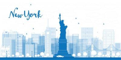 Plakat Nakreślić panoramę Nowego Jorku z drapaczy chmur