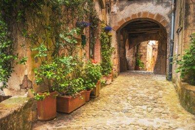 Plakat Narożniki średniowiecznych miast Toskanii we Włoszech