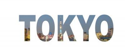Plakat Nazwa miasta Tokio znak zdjęcie w tle. Pojedynczo na białym tle ..