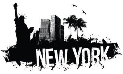 Plakat New York Banery czarny
