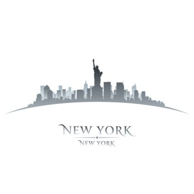 Plakat New York City skyline, sylwetka, biały, tło