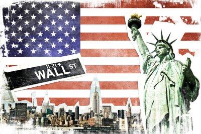 Plakat New York City vintage collage, US flag background