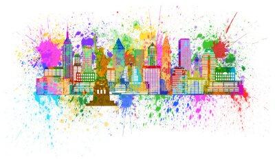 Plakat New York Skyline farby bryzg Ilustracja