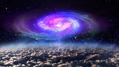 Plakat niebieska galaktyka w nocy w przestrzeni.