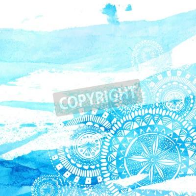 Plakat Niebieski akwarela pędzla z białym wyciągnąć rękę mandale - Round doodle elementów indyjskich. Wektor latem projektowania.