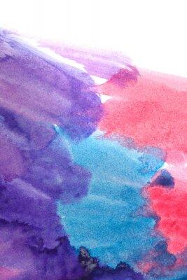 Plakat Niebieski, fioletowy, czerwony abstrakt akwarele.