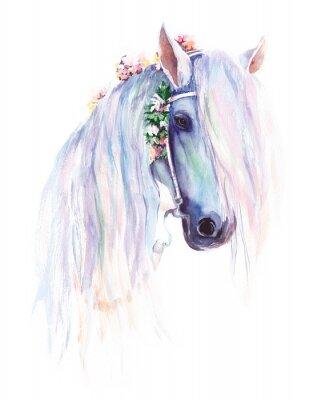 Plakat Niebieski koń z kwiatami w grzywę. Oryginalny obraz akwarelowy.