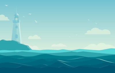 Plakat niebieskim tle morza z falami i latarni. Ilustracja wektorowa