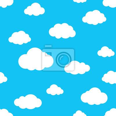 niebo Obłoczny bezszwowy deseniowy wektor odizolowywał tapetowego tła błękit