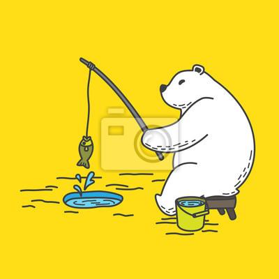 niedźwiedź polarny wektor połowów ilustracja kreskówka