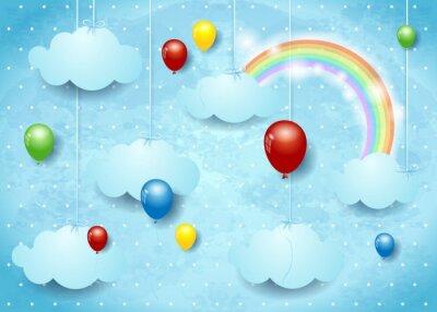 Plakat Nierealne Chmura z kolorowych balonów