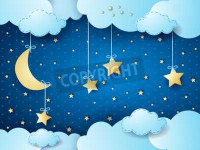 Plakat Nierealne noc, fantastyczny chmura scape. ilustracji wektorowych