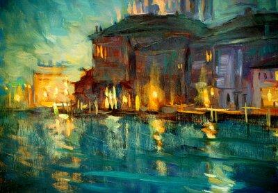 Plakat Nocny krajobraz z Wenecji, malarstwem przez olej na sklejce, Illustrat
