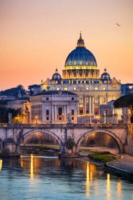 Plakat Nocny widok z Bazyliki Świętego Piotra w Rzymie, Włochy