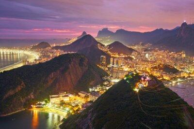 Plakat Nocny widok z Rio de Janeiro, Brazylia