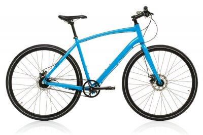 Plakat Nowe niebieski rower samodzielnie na biały