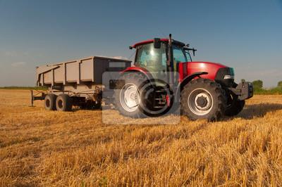 Plakat Nowoczesne czerwony traktor na polu rolnictwa w słoneczny letni dzień