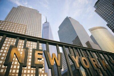 Plakat Nowoczesne wieżowce w Downtown New York City Manhattan skyline wieży do błękitnego nieba