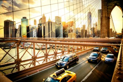 Plakat Nowy Jork, Brooklyn Bridge Skyline