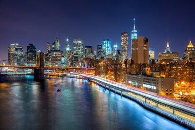 Plakat Nowy Jork nocy sceny z Manhattan Skyline i Brooklin B