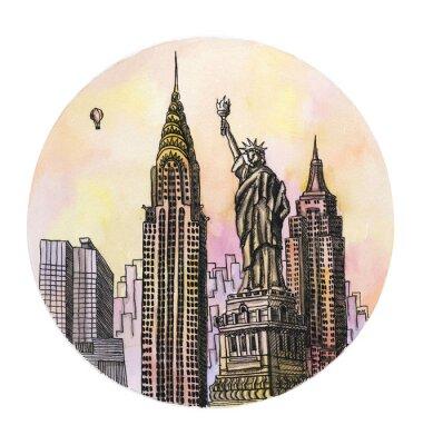 Plakat Nowy Jork z Pomnik Wolności rysunku akwareli ręcznie, famouse arhitectural buillding samodzielnie na białym tle.