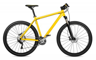 Plakat Nowy rower żółty rower górski samodzielnie na białym tle / Neues Mountainbike Fahrrad Gelb izolowane auf weißem tła