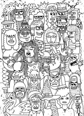 Plakat Obejmuje ilustrację kreskówek twarze tłoczą się doodle pociągany ręcznie wzór, Doodle styl