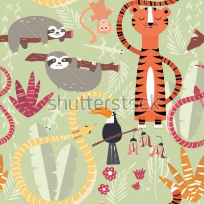 Plakat Obejmuje wzór z lasami tropikalnymi związkami, tygrys, wąż, opieszałość, ilustracji wektorowych