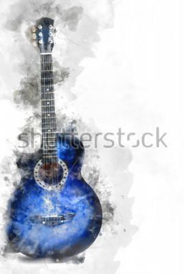 Plakat Objęta piękna gitara w przedpolu, akwarela obrazu tła i cyfrowej ilustraci muśnięcie sztuki.
