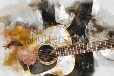 Plakat Objęta piękna kobieta bawić się gitarzysty w przedpolu. Zamknij się, akwarela malarstwo tła i cyfrowy pędzel ilustracja do sztuki.