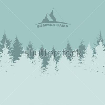 Plakat Obóz letni. Obraz natury. Sylwetka drzewa. Ilustracja