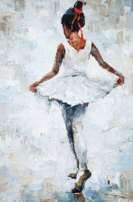 Plakat obraz olejny, dziewczyna baleriny. rysowane słodkie baleriny taniec