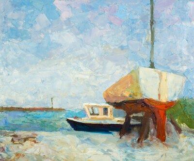 Plakat Obraz olejny na płótnie. Jachtów i statków