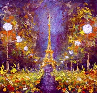 Plakat Obraz olejny - Wieża Eiffla w nocy Francji Rybakow